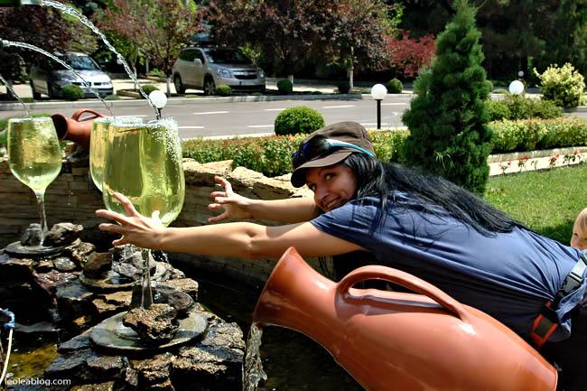 Wino Mołdawia Moldova MilestiMici Winiarnia kieliszek glass dzban fontanna fountain Eu Europe